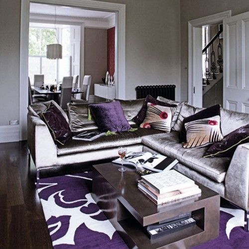 Captivating Grey And Purple Living Room