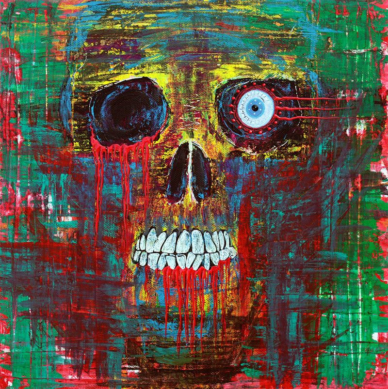 Skull Abstract Art Modern Painting Palette Knife Dark Horror Ghosts Barbosaart #outsiderart