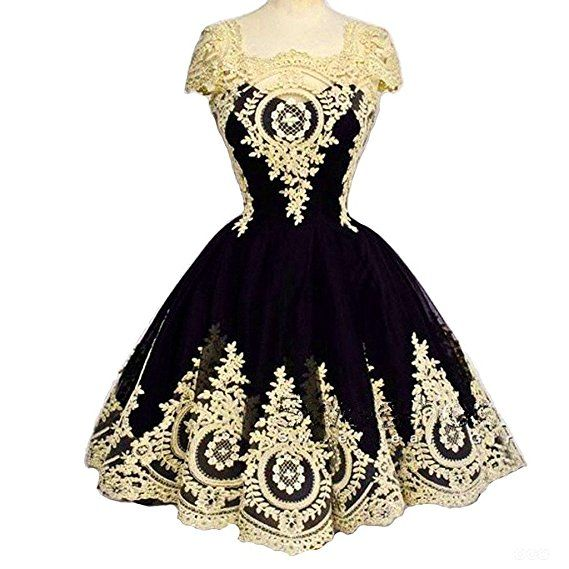 Kivary Vintage Short Little Black Corset Lolita Prom Homecoming Dresses Gothic Gold Lace US 2