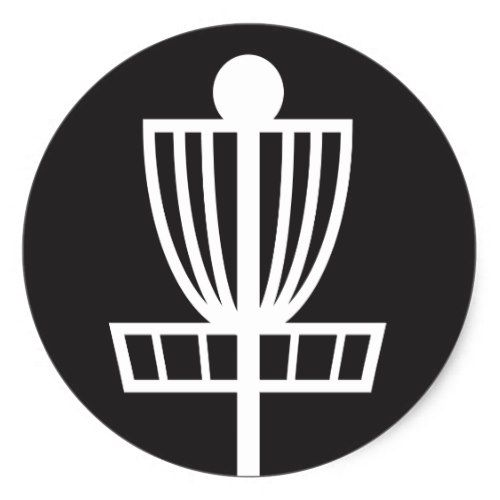 Disc Golf Pole Hole Basket Icon Round Sticker Golf Inspiration