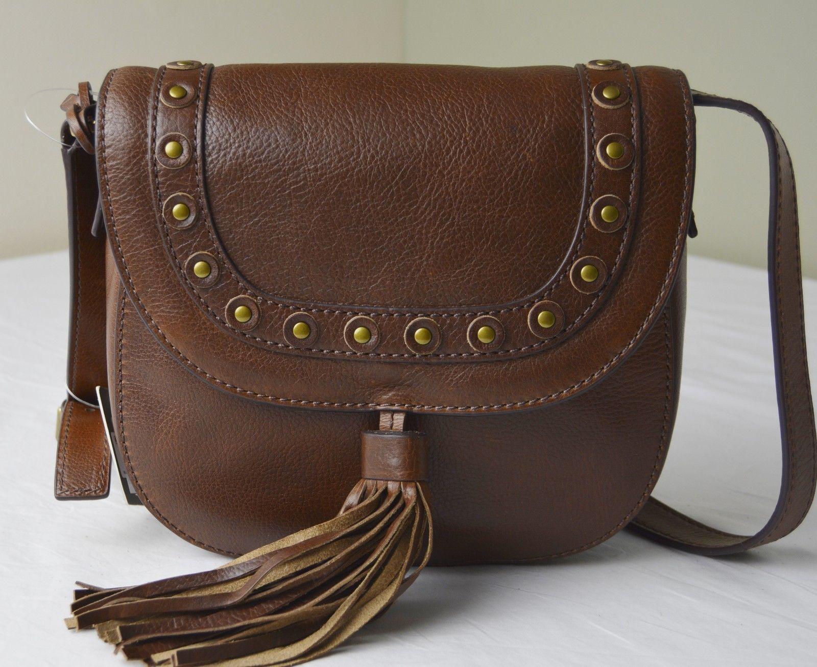Fossil Emi Brown Leather Tassel Studded Saddle Crossbody Messenger Bag
