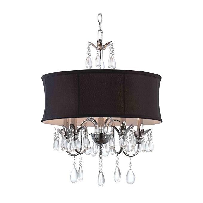 Black Drum Shade Crystal Chandelier Pendant Light Ceiling