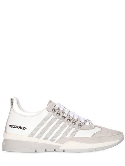DSQUARED2 251 STRIPED LEATHER & SUEDE SNEAKERS, WHITE/GREY. #dsquared2 # shoes