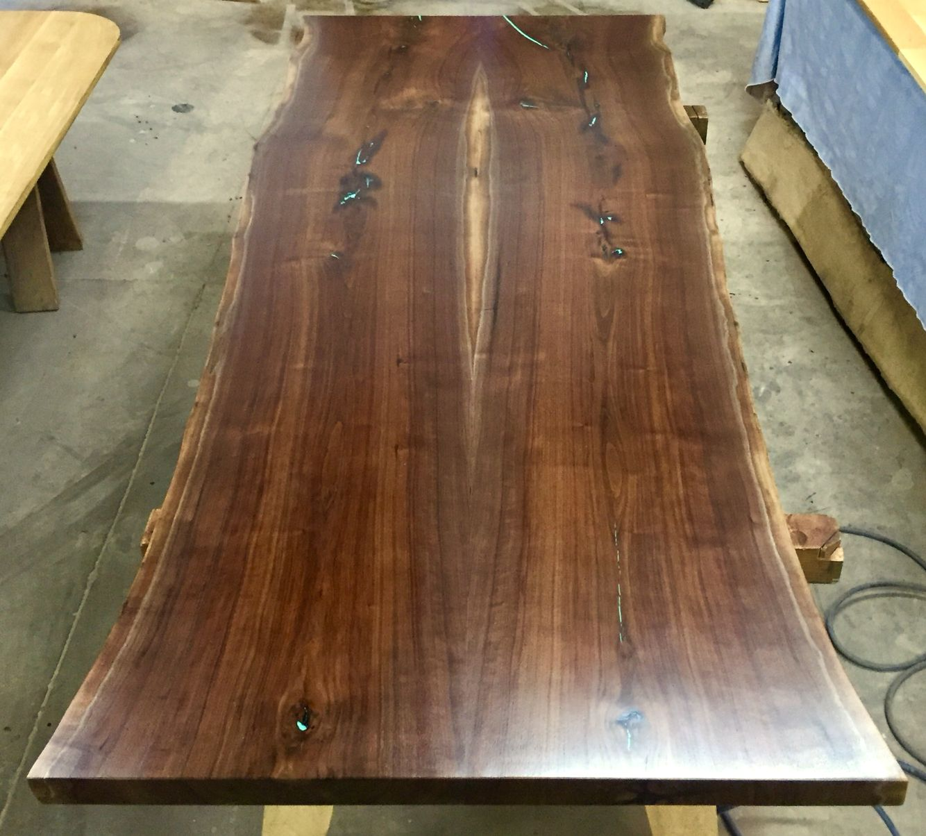 Black Walnut Table Top With Turquoise Fill In Cracks  It Will Have Our  Exclusive