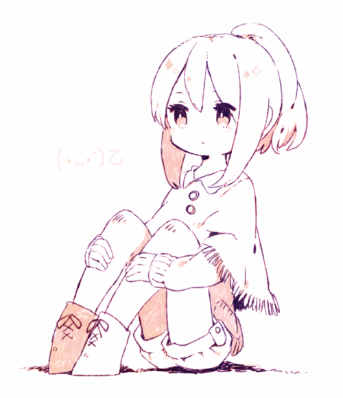 A Slightly Chibi Anime Girl Sitting With Her Knees Up As She