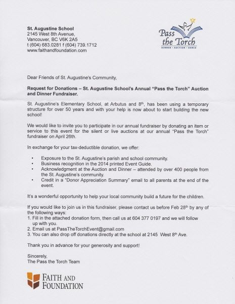 Donation Letter  Ptt  Auction Items    Raffle Ideas