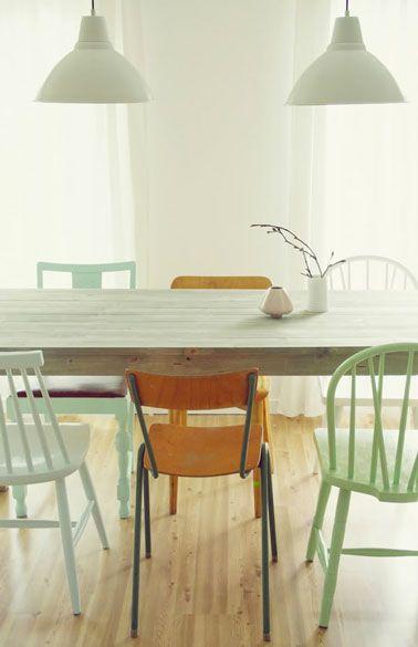 salle a manger couleur vert d eau parquet statifie chene clair - Salle A Manger Parquet