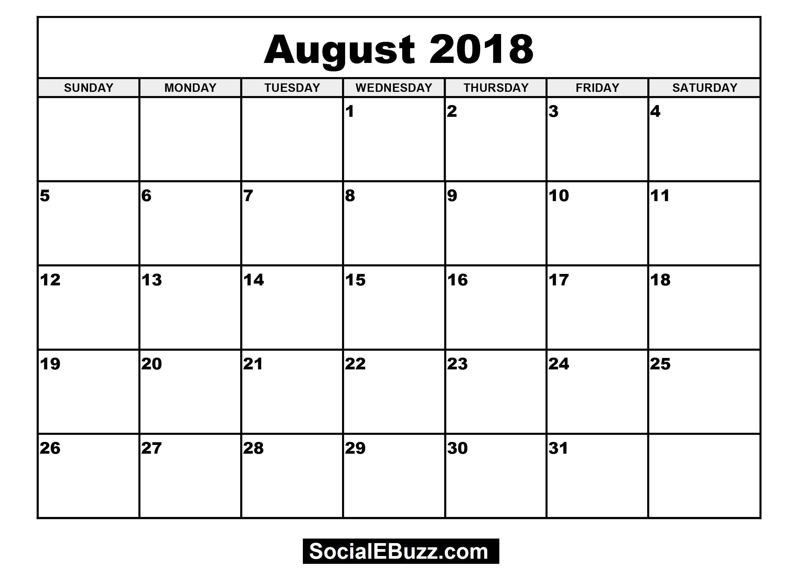 2018 August Calendar Printable August Calendar Monthly Calendar