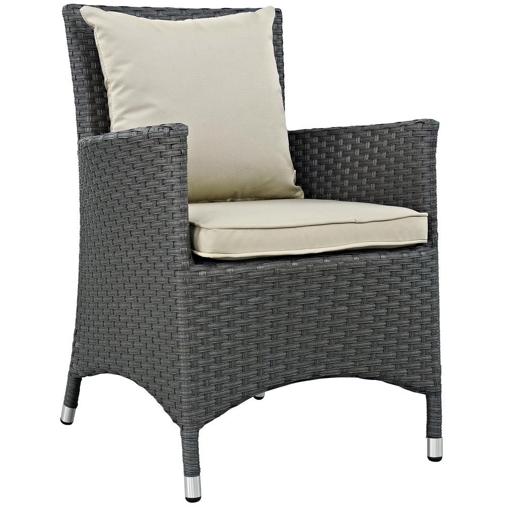 Modway sojourn patio wicker outdoor dining chair with sunbrella