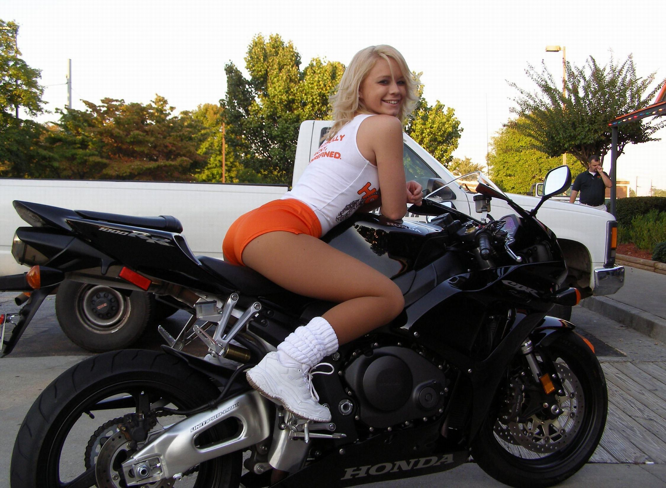 stocking babes on motorbikes