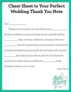 Cheat Sheet to Your Perfect Wedding Thank You Note   Allyson ...