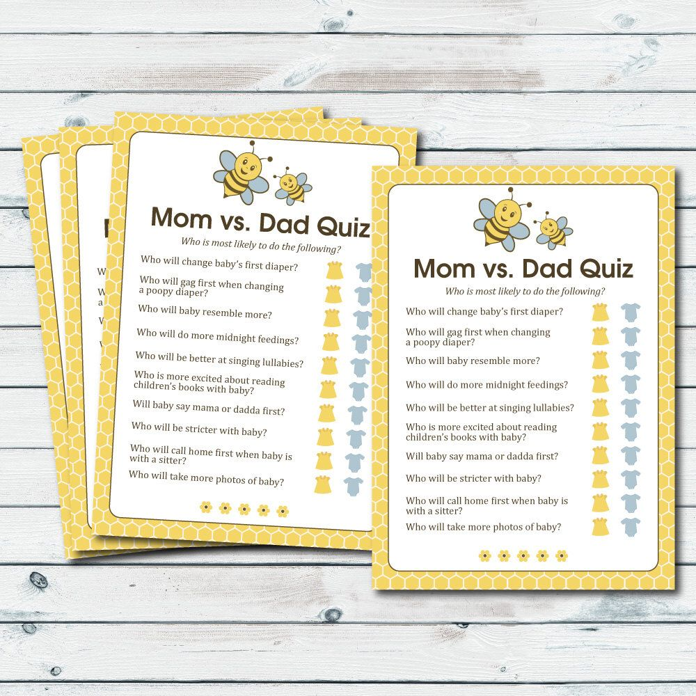 Mom Vs Dad Quiz Baby Shower Game, Printable Baby Shower Game, Bee Baby  Shower Quiz, Mommy Vs Daddy Trivia Game, Mom Or Dad Trivia Quiz