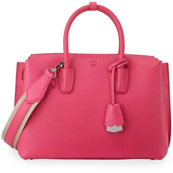 MCM Milla Medium Tote Bag ($920) ❤ liked on Polyvore featuring bags, handbags, tote bags, beetroot pink, pink leather tote, pink leather backpack, leather backpack handbags, leather rucksack and travel tote