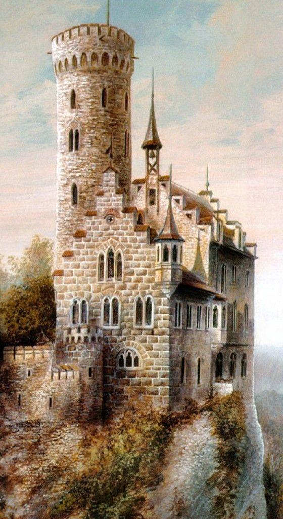 Medieval Castle Painting : medieval, castle, painting, Medieval, Castle, Painting, Painting,, Perspective
