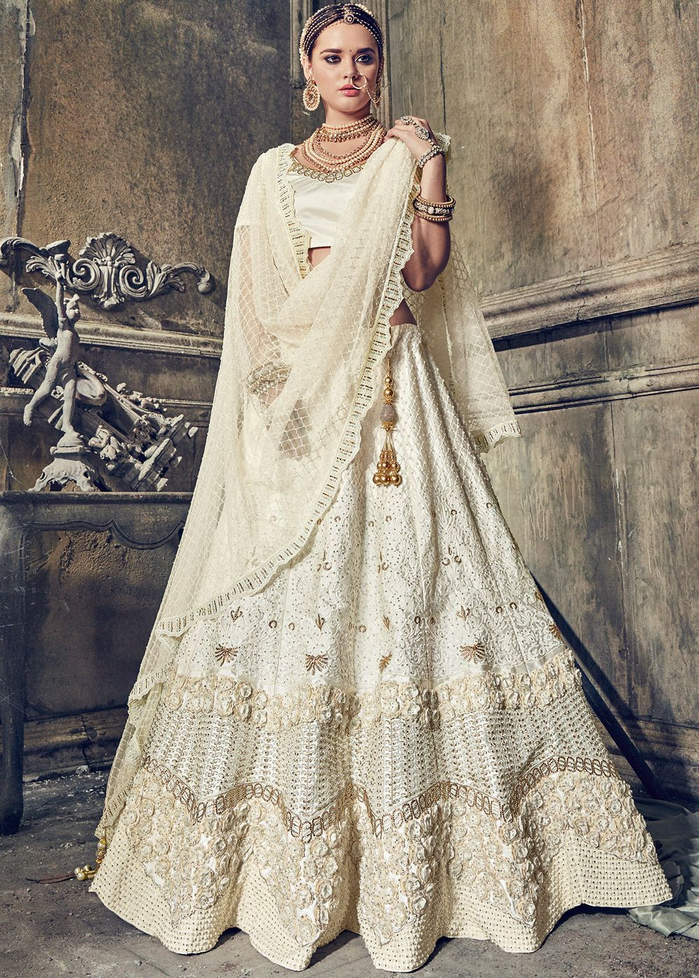 Off white satin bridal lehenga choli with dupatta style
