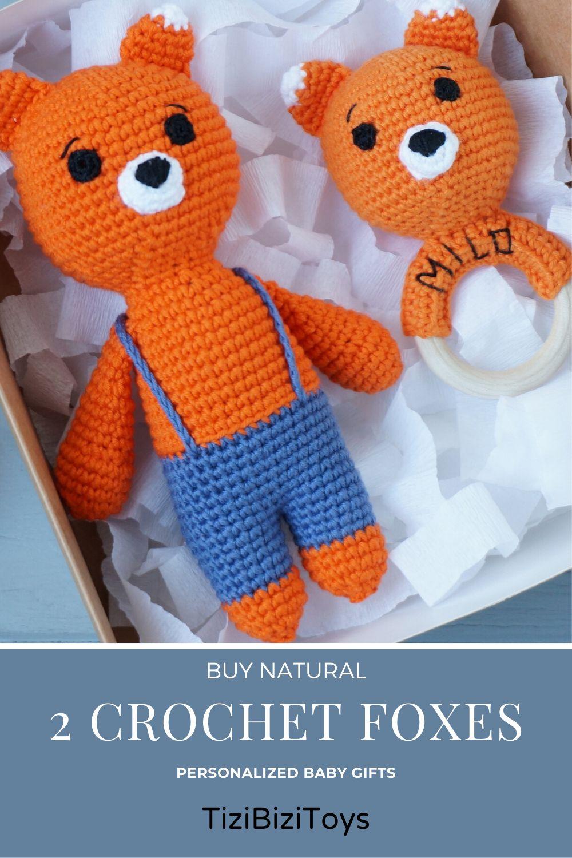 Baby rattle toy set amigurumi fox crochet toys