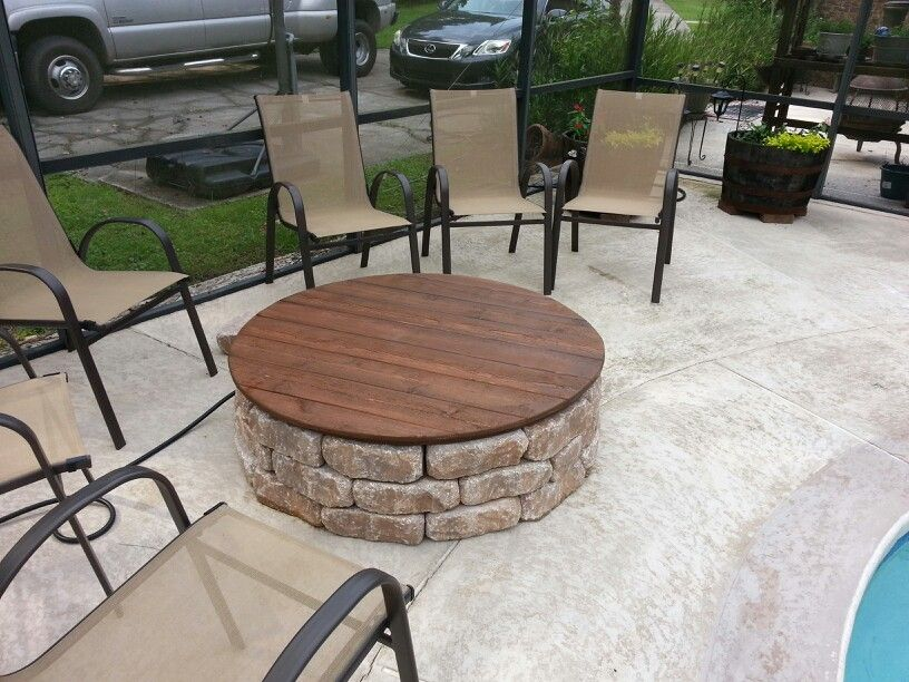 This Is Our Firepit With A Gas Insert And A Wooden Cover That Doubles As A Table On Warm Days The Cover Is Pl Diy Gas Fire Pit Gas Firepit Fire