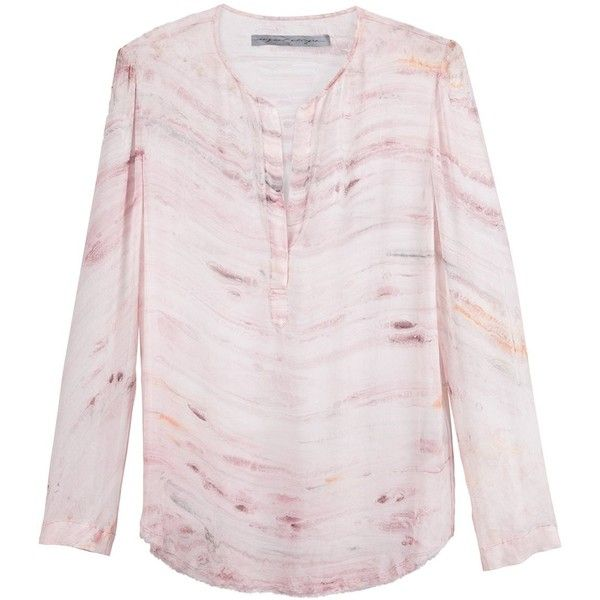 Raquel Allegra Henley Blouse ($408) ❤ liked on Polyvore featuring tops, blouses, rose blouse, henley top, pink top, henley blouse and raquel allegra top