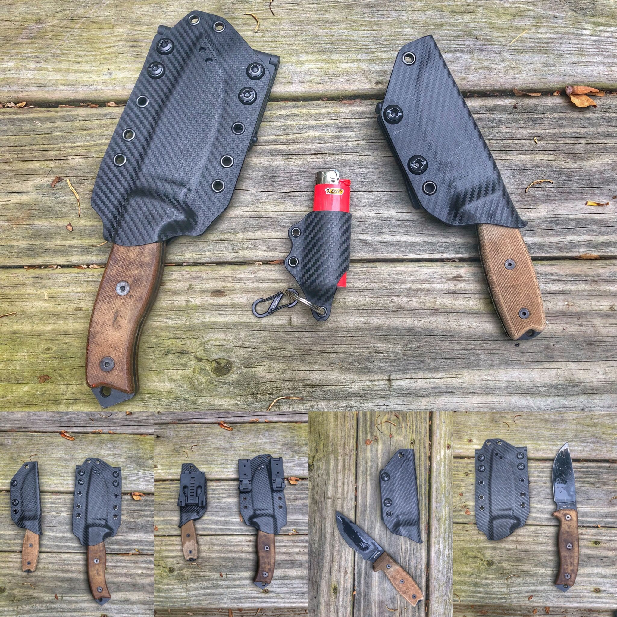 Finished Kydex Sheaths For A Client's Rat 3 And 5 Knives
