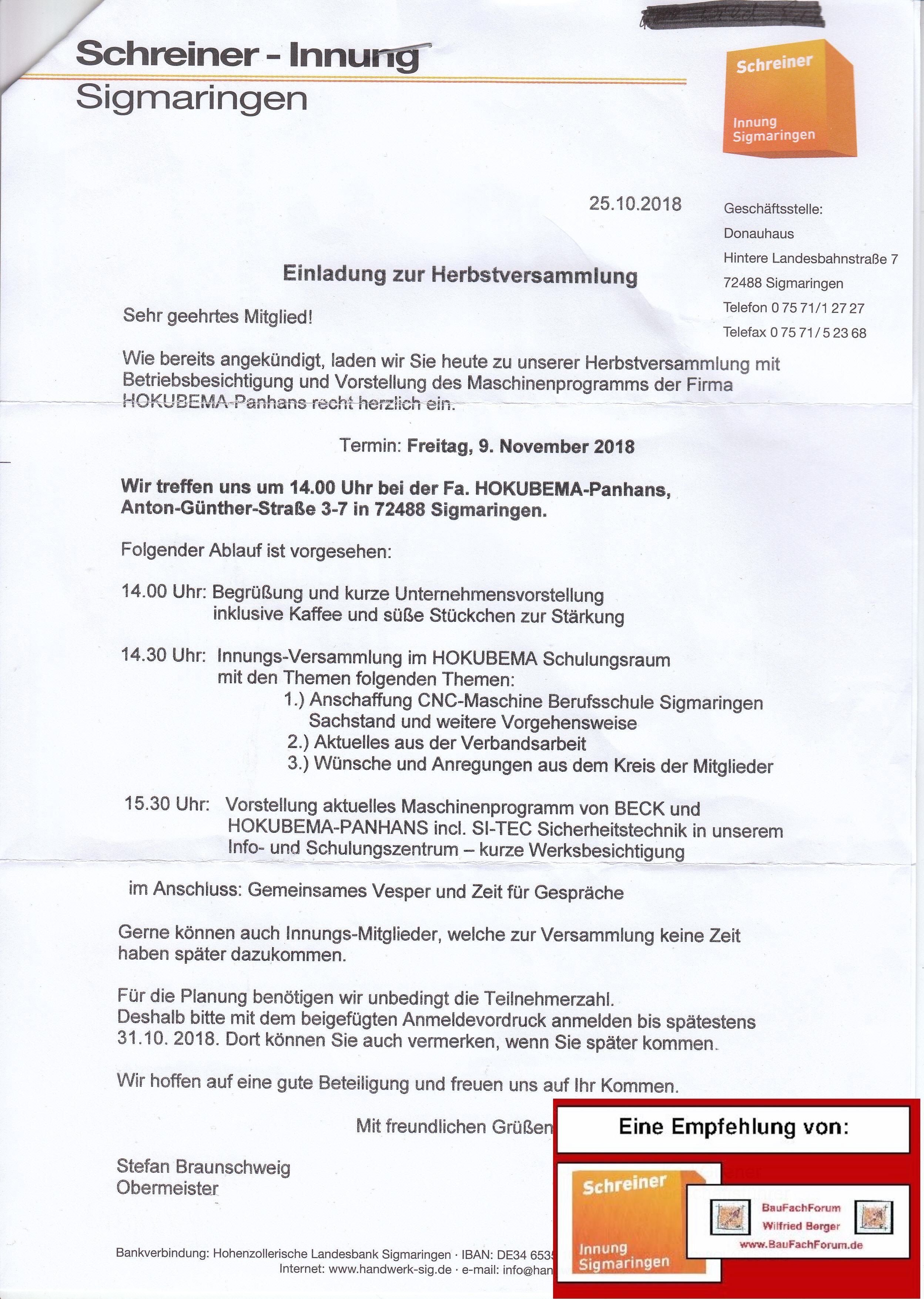 Schreinertag, Ents… Sigmaringen, Besichtigung und Programm