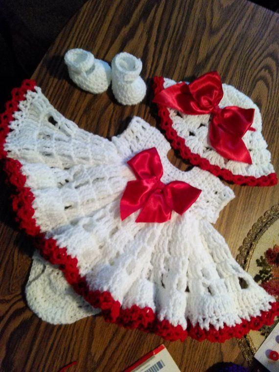 Crochet white baby dress with red trim by BabyBeautiful801 on Etsy ...