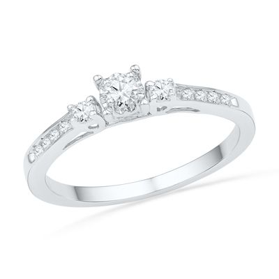 1 6 Ct T W Diamond Three Stone Promise Ring In 10k White Gold Diamond Fashion Rings White Gold Diamond Engagement Ring Unique Diamond Engagement Rings
