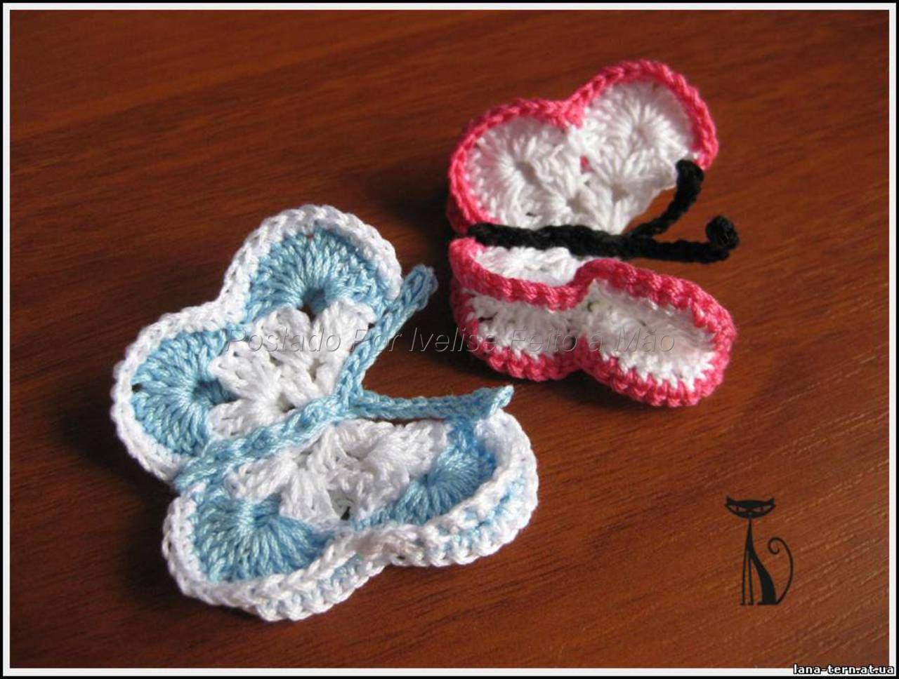 Ivelise Feito à Mão: Borboletinha Em Crochê!Pap..... ~ Butterfly pictorial