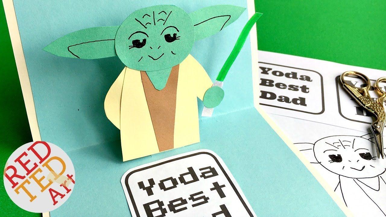 easy pop up father's day card  3d yoda card diy  star