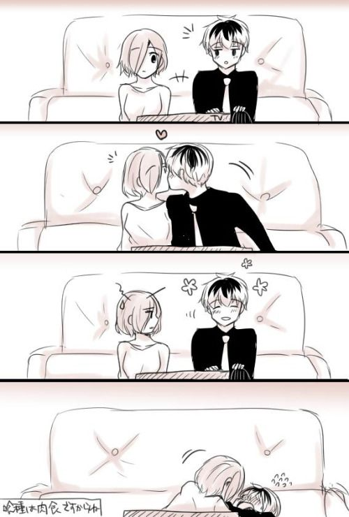 touka and kaneki kiss - Google Search