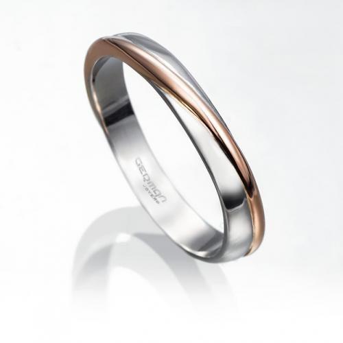 alianza de boda oblicua en platino fino y oro rosa de 18 kilates con