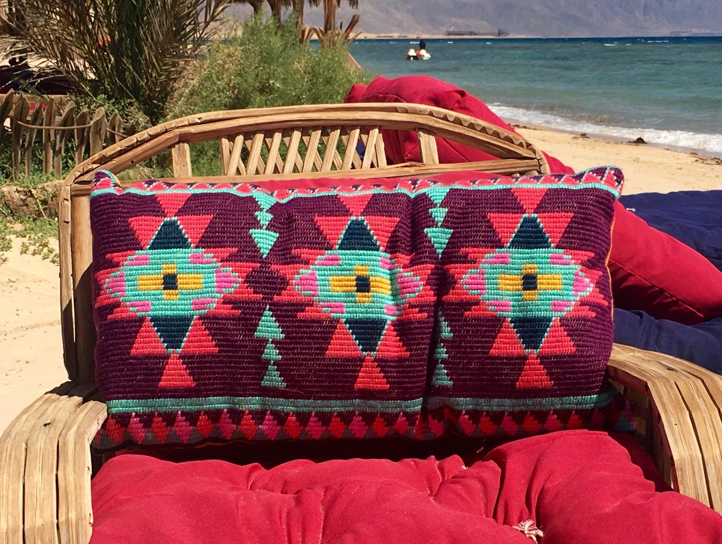 Lumbar Pillow Embroidered Kilim Indoor Cushion Boho Housewarming
