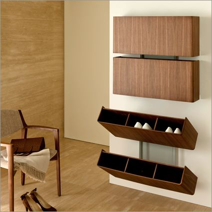 porada pit stop shoe rack, canaletto walnut by tarcisio colzani ...