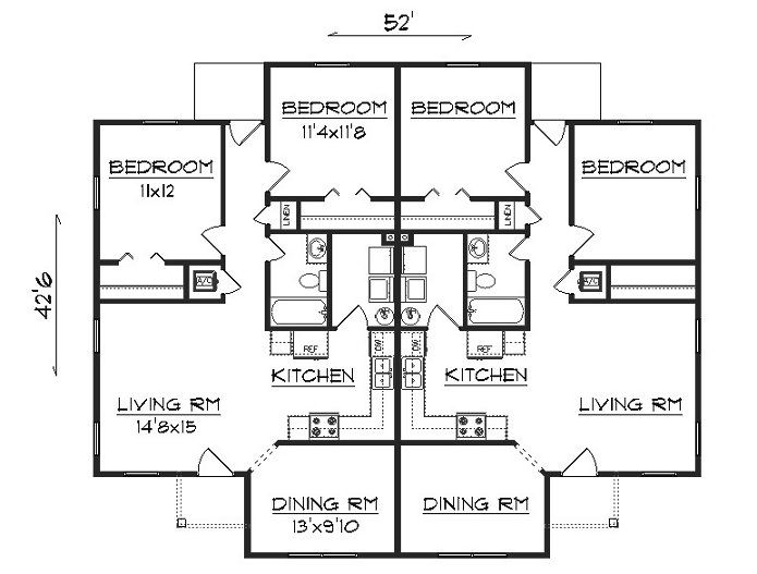 Duplex J1905d House Plan Maker Pool House Plans House Floor Plans