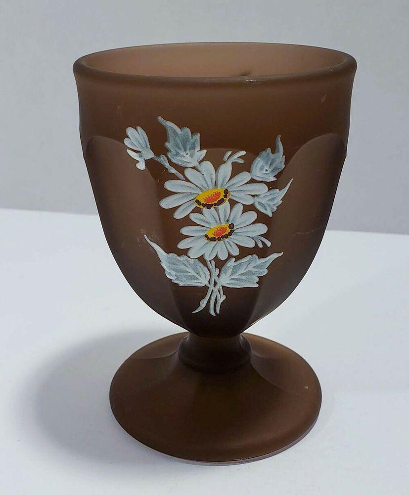 Westmoreland Glass Brown Mist Daisy Pattern Goblet FREE ...