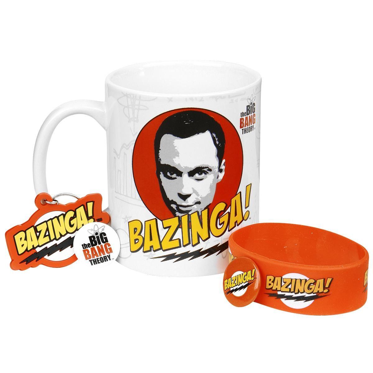 Big Bang Theory -fanipaketti sisältää keraamisen mukin, silikonirannekkeen, avaimenperän ja kaksi rintanappia. Keraamisen Bazinga-mukin tilavuus on n. 0,3 litraa.