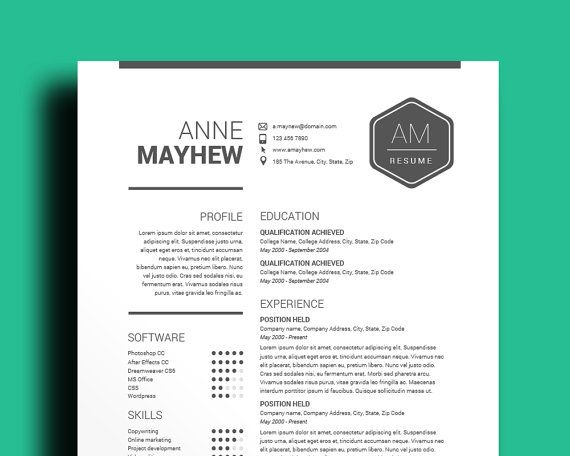 Black \ White Resume Template With Free Cover Letter \ References - resume template microsoft word download