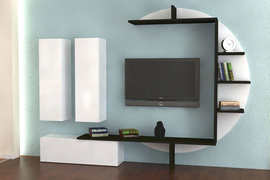 ensemble meuble tv blanc laqu et effet b ton cir design bari meubles tv living room. Black Bedroom Furniture Sets. Home Design Ideas