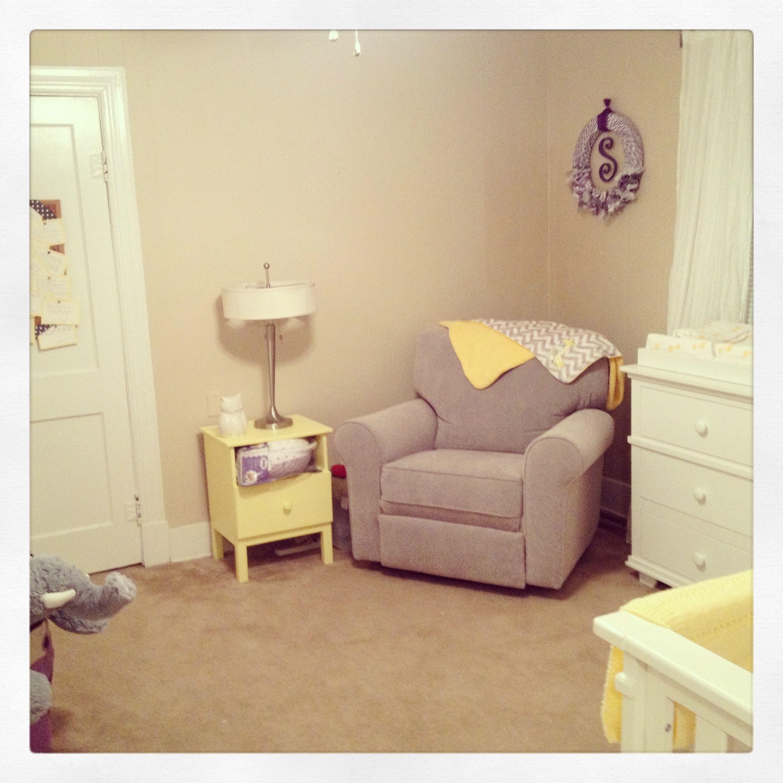 Purple And Yellow And Grey Nursery Chair   Lonestar Baby (Best Chair Brand)  Night