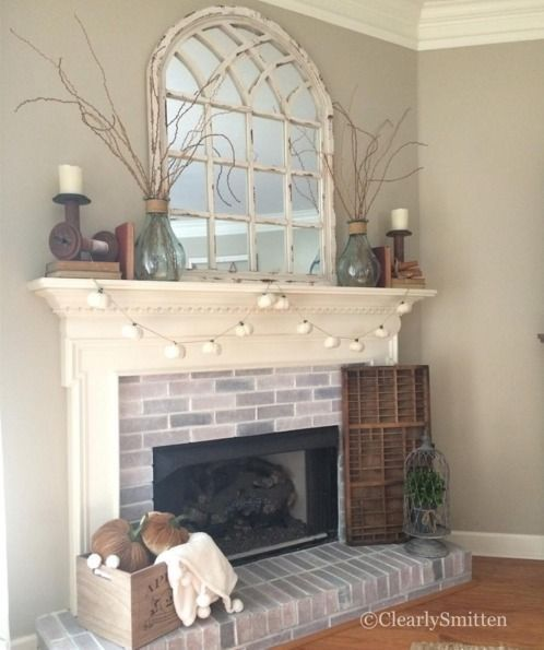White Arch Mirror Over Fireplace Coastal Style Kirkland S Somine