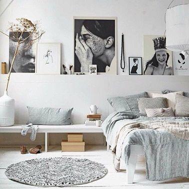 Chambre blanche et déco zen on adore ! | Chambre scandinave, Gris ...
