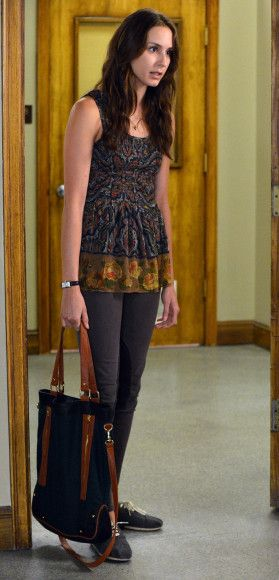 Spencer's multicolored top with grey knee patch jeans (jodhpurs) and green bag on Pretty Little Liars.  Outfit Details: http://m.wornontv.net/10567/