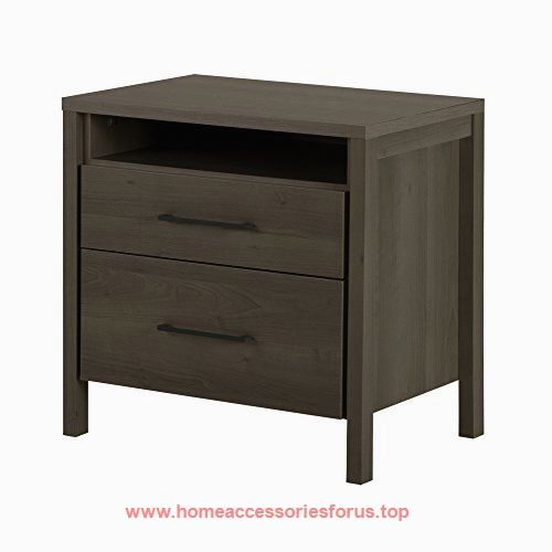 South Shore Gravity 2 Drawer Night Stand, Gray Maple BUY NOW $98.99 This Night  Stand Perched On Elegant Legs Will Give Your Bedroom A Modern And ...