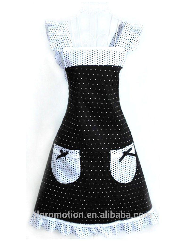 White apron ladies - Hyzrz Latest Princess Style Design Women Girls Ladies Cotton Apron White Fashion Polka Dot With Two