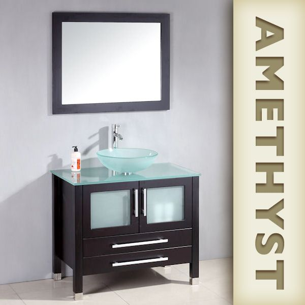 699 The Amethyst Wood Glass Bathroom Vessel Sink Vanity Set 36