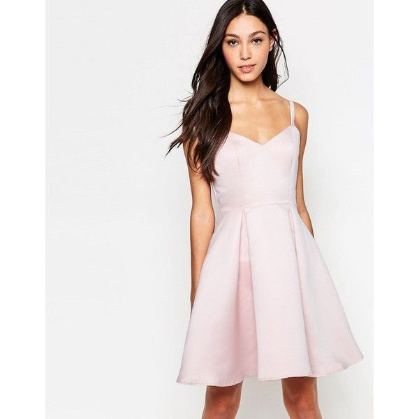 Girls On Film Cami Skater Dress ($41) ❤ liked on Polyvore featuring dresses, oyster, woven dress, sweetheart skater dress, sweetheart neckline skater dress, skater dress and pleated skater dress