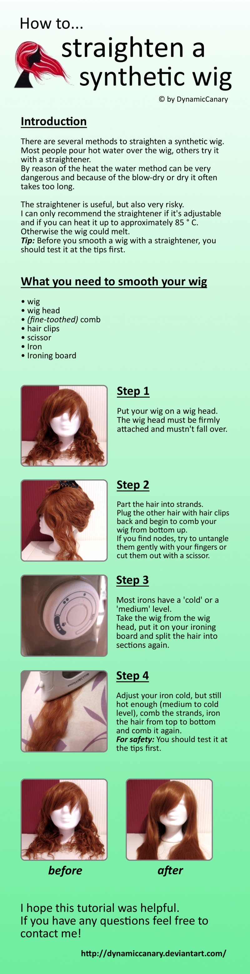 Tutorial How To Straighten A Synthetic Wig By Dynamiccanary On Deviantart Wigs Synthetic Wigs Wig Hairstyles