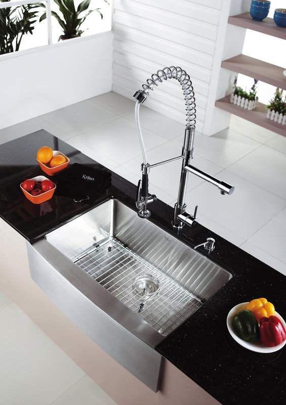 Kraus Khf200 30 Kpf1602 Ksd30 Kitchen Combo 29 3 4 Farmhouse Single Bowl 1 Kitchen Sink Design Farmhouse Sink Kitchen Stainless Steel Kitchen Sink