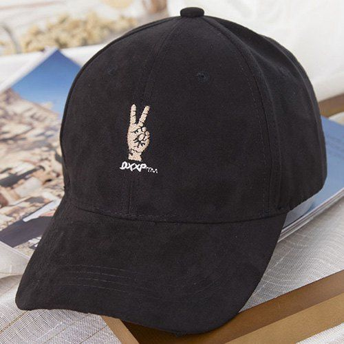 $4.95 Cool Summer Victory Sign and Letter Embroidery Suede Baseball Cap For…