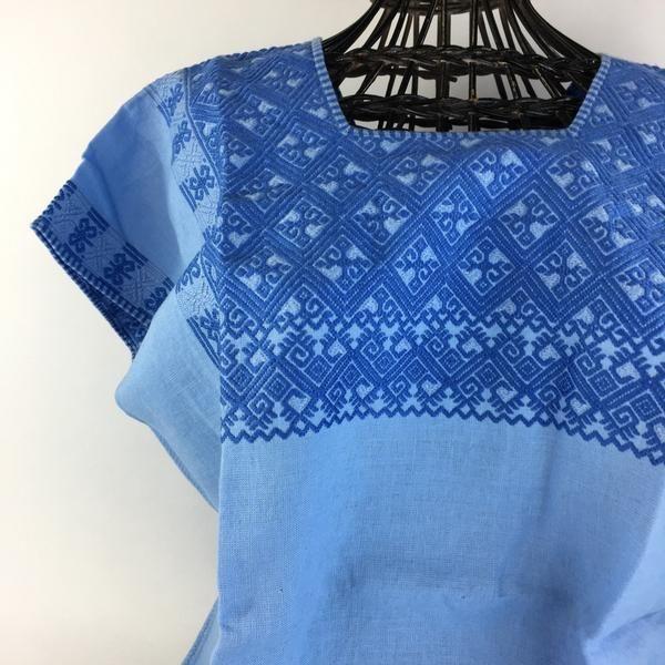 Blue Woven Yoke on Linen Mexican Blouse, Chiapas | Mexican textiles ...