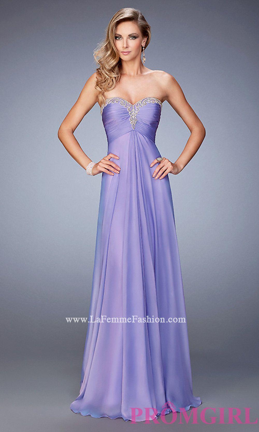 Chiffon Long Open Back Sweetheart Prom Dress by La Femme Style: LF ...